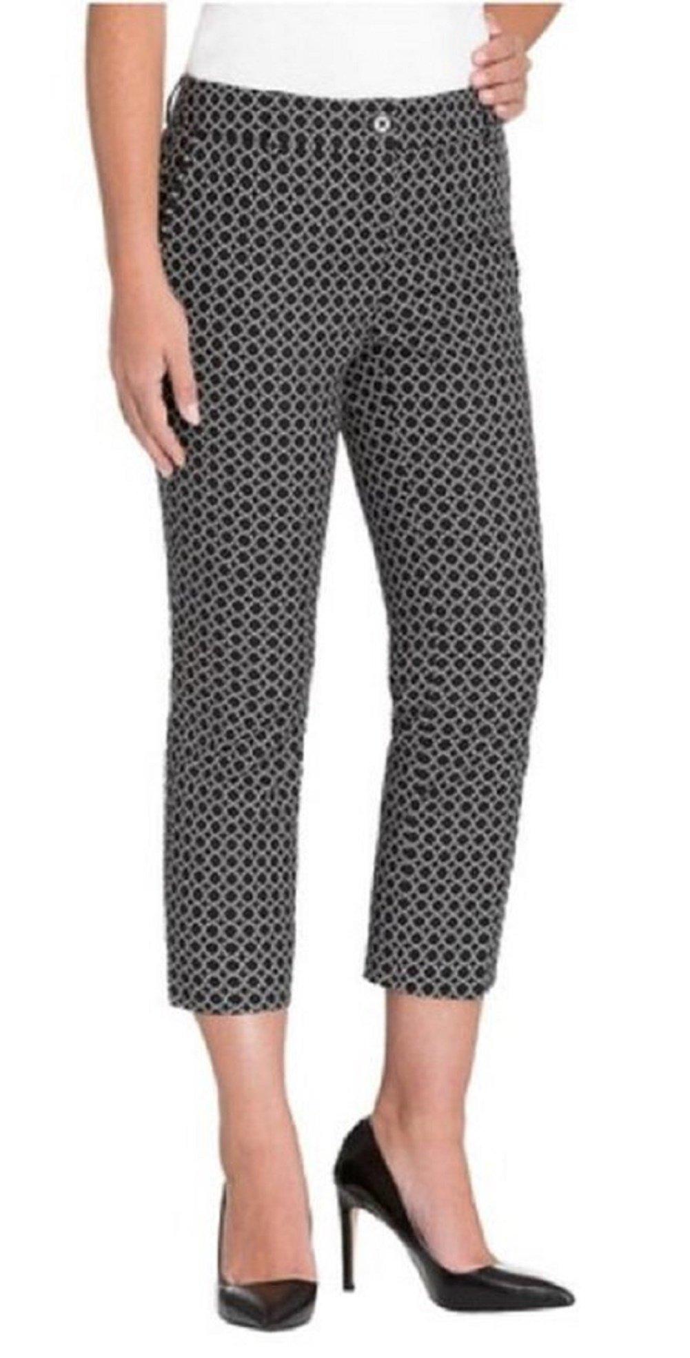 Hilary Radley Womens Stretch Slim Leg Crop Pant-Black & Ivory-6