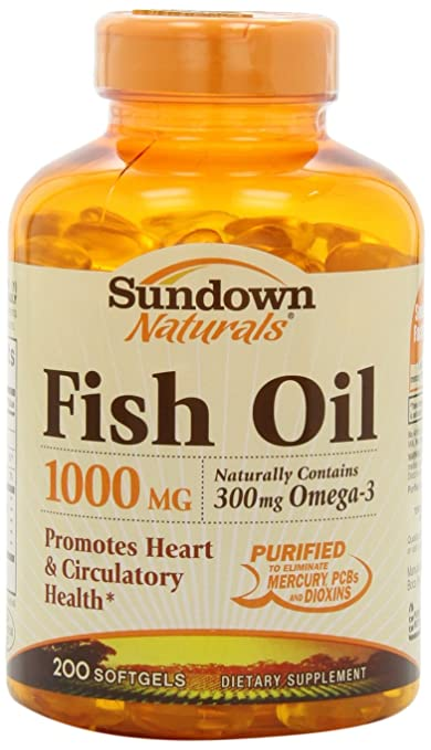 Sundown Naturals Fish Oil, 1000 mg, 200 Softgels by Sundown Naturals