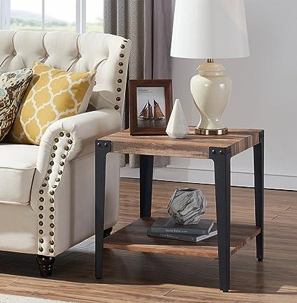 O&K Furniture Industrial Square Side End Table with Lower Shelf for Living  Room & Bedroom, Vintage Brown(1-Pcs)