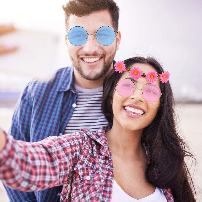 9 Pieces Hippie Dressing Accessory Set Includes 3 Pieces Hippie Glasses Retro Round Sunglasses 3 Pieces Rainbow Peace Sign Necklaces 3 Pieces Sunflower Headbands for Women Men