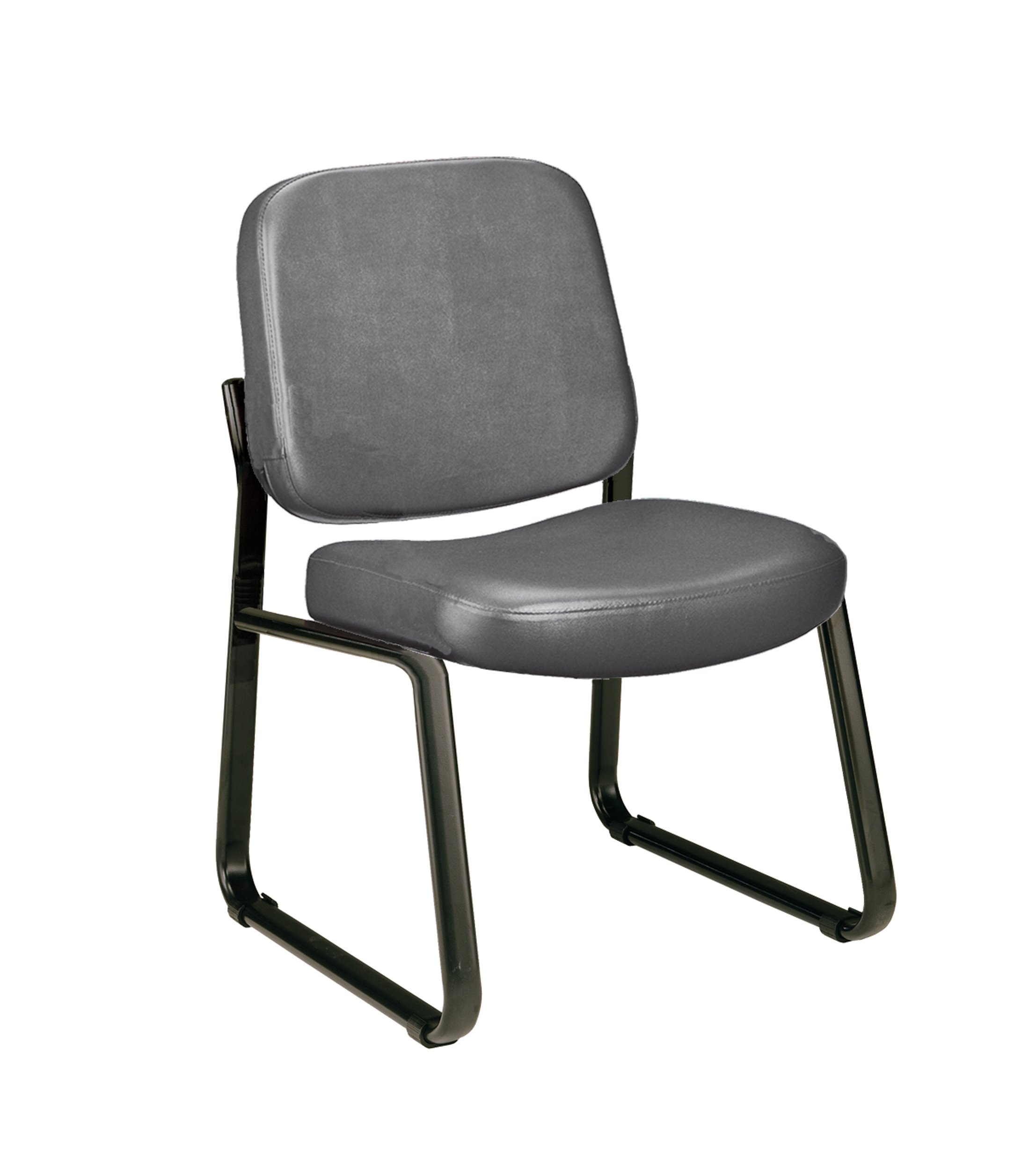 OFM Anti-Microbial/Anti-Bacterial Vinyl Guest/Reception Chair, Charcoal