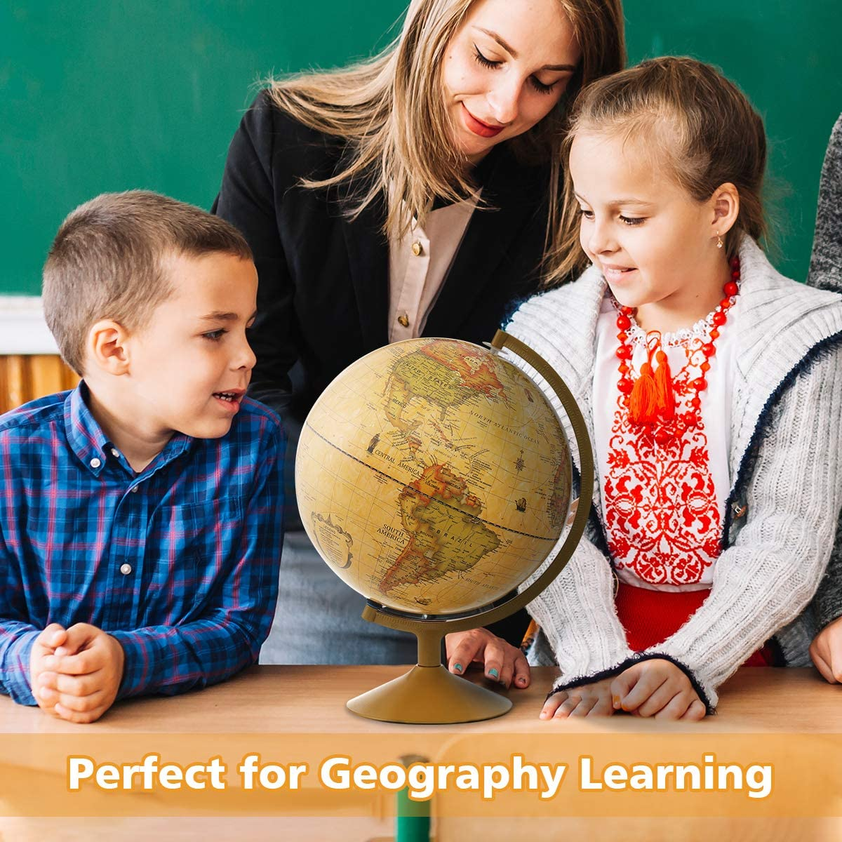 World Globe Earth Globe Educational Gift Toys Perfect Decoration for Office and Study KingSo Antique Globe for Kids 12 Inch Bronze Desktop World Globe with Steel Stand Over 4000 Locations