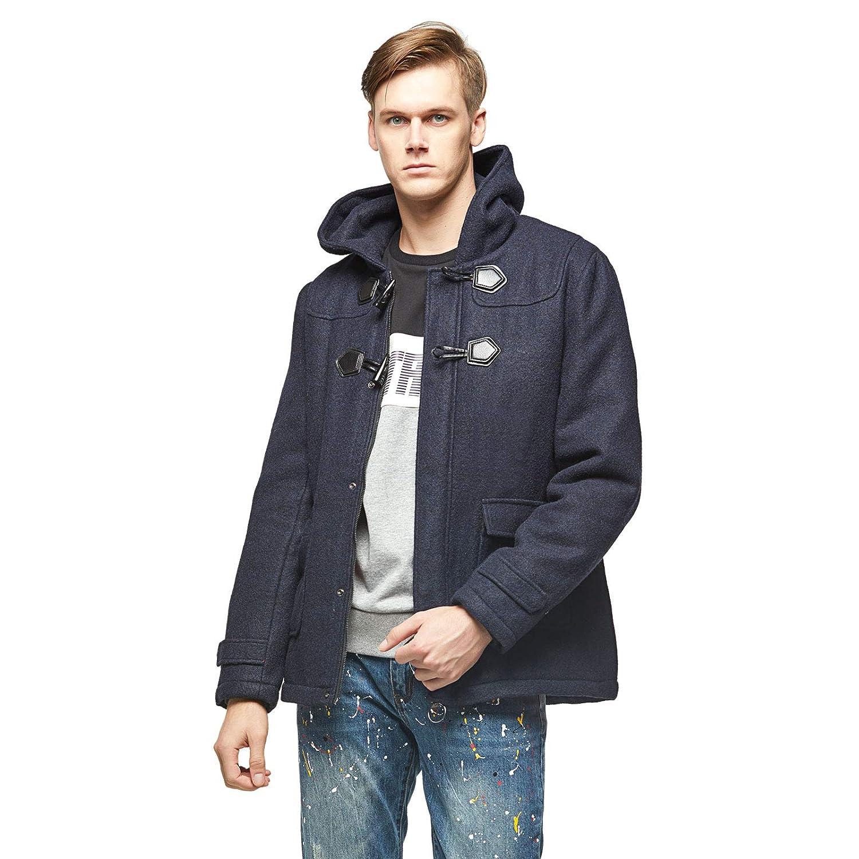 Extreme Pop Mens UK Melton Padded Zip-Up Hooded Jacket