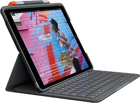 Logitech Funda para teclado para iPad Air (3ª generación) | Folio delgado con teclado inalámbrico integrado (grafito)
