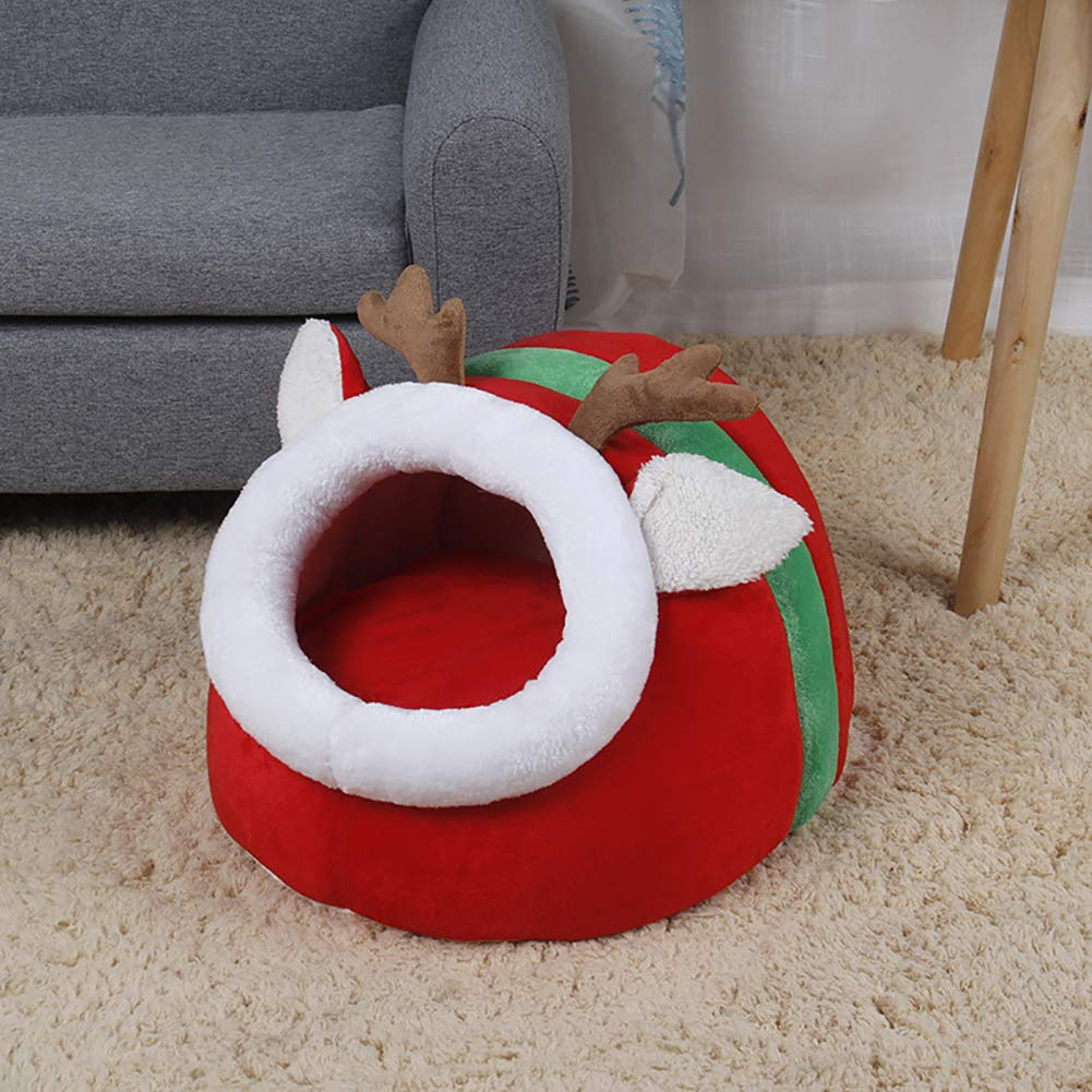 Ocamo per Autunno e Inverno Red L Cuccia per Cani e Gatti Piccola e Rossa a Forma di Renna di Natale a Forma di Pantofola
