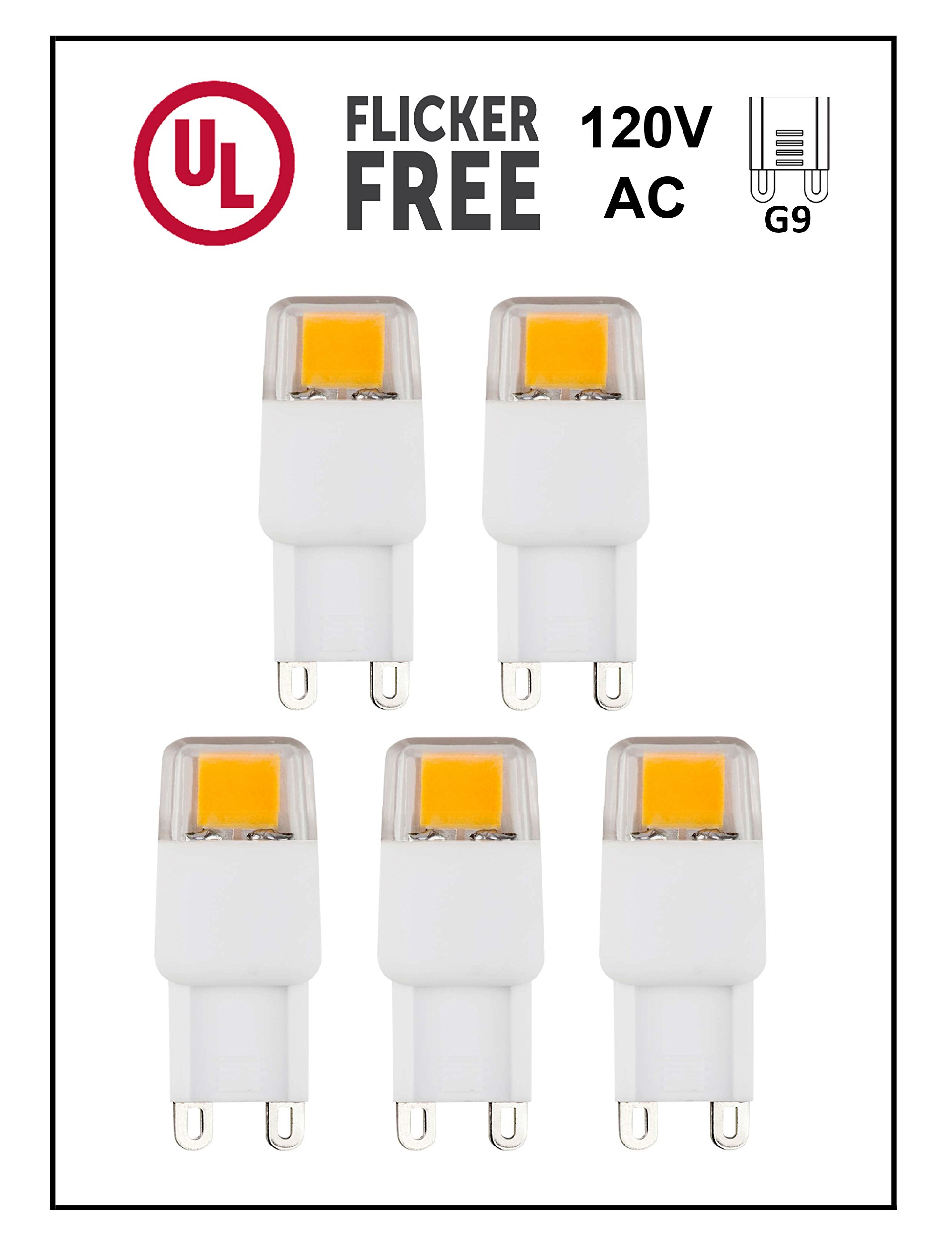 CBConcept UL-Listed, G9 LED Light Bulb, 5-Pack, Epistar COB 1.7 Watt, 220 Lumen, Not Dimmable, Pure White 6000K, 360° Beam Angle, 120 Volt, 25W Equivalent, Halogen G9 Replacement Bulb