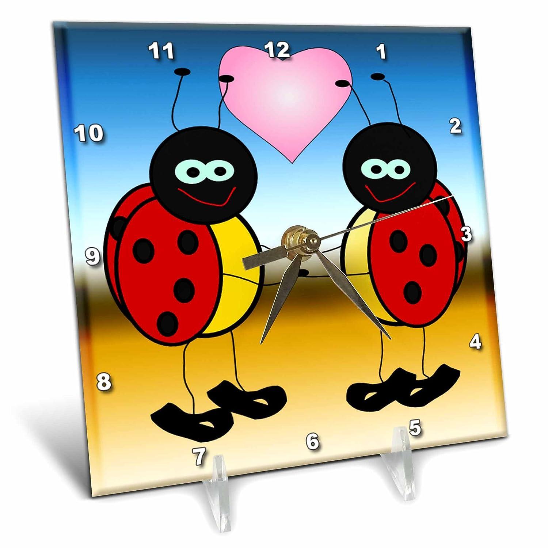 6 by 6-Inch 3dRose dc/_76732/_1 Lady Bugs in Love Cartoon-Desk Clock