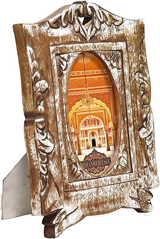 Indian Heritage Wooden Photo Frame Mango Wood Carving Design with White Distress Finish