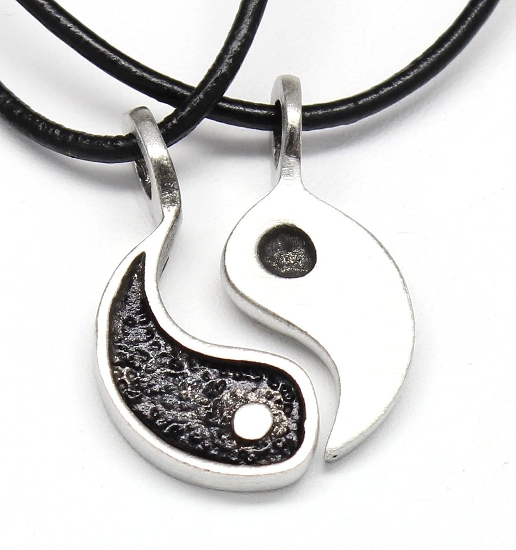 Amazon pewter yin yang chinese taoism balance meditation 2 amazon pewter yin yang chinese taoism balance meditation 2 piece pendant on leather necklace jewelry aloadofball Images