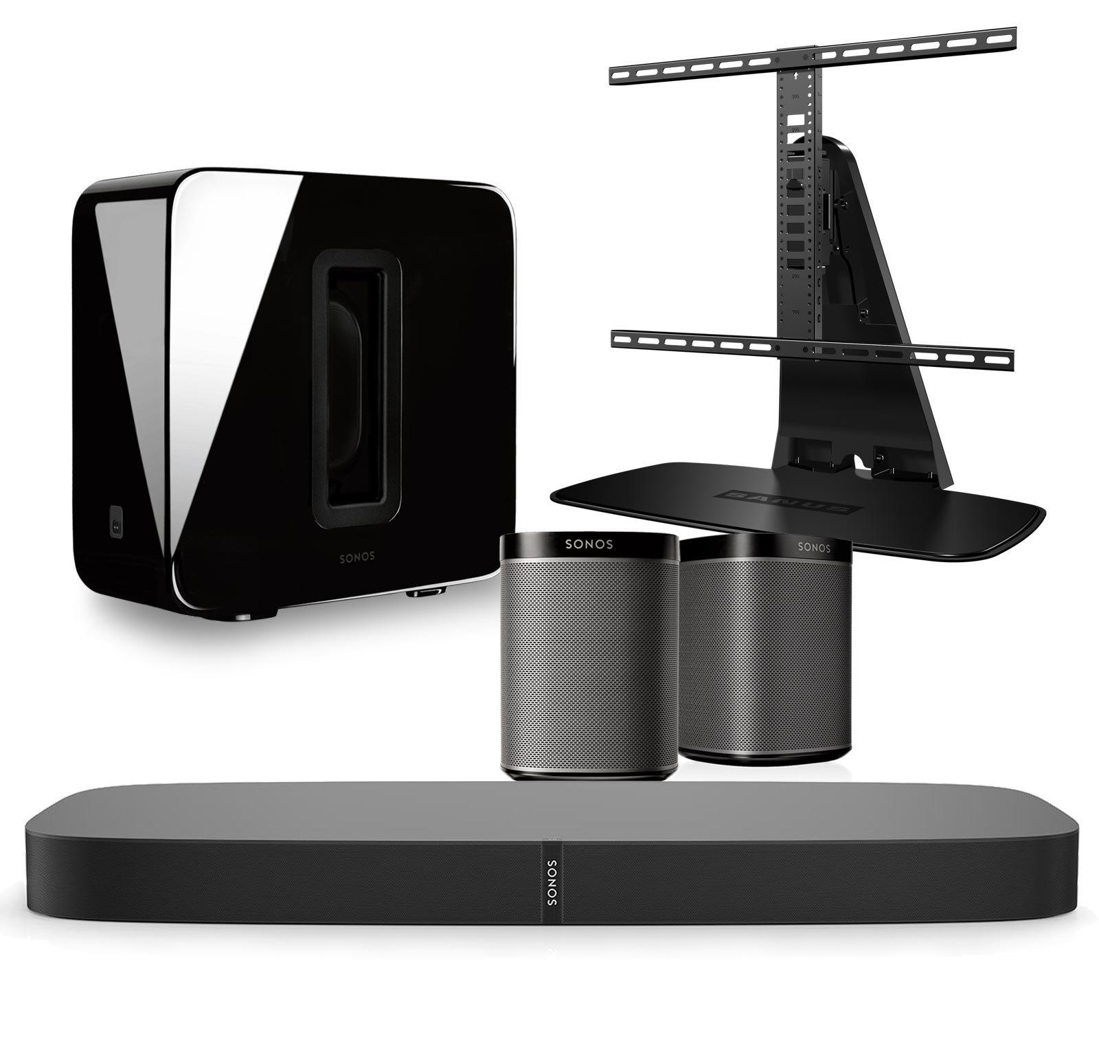Sonos 5.1 Home Theater Digital Music System Bundle (PLAYBASE, SUB, PLAY:1) Black & Sanus WSTV1-B1 Swivel TV Base Mount for Sonos PLAYBASE