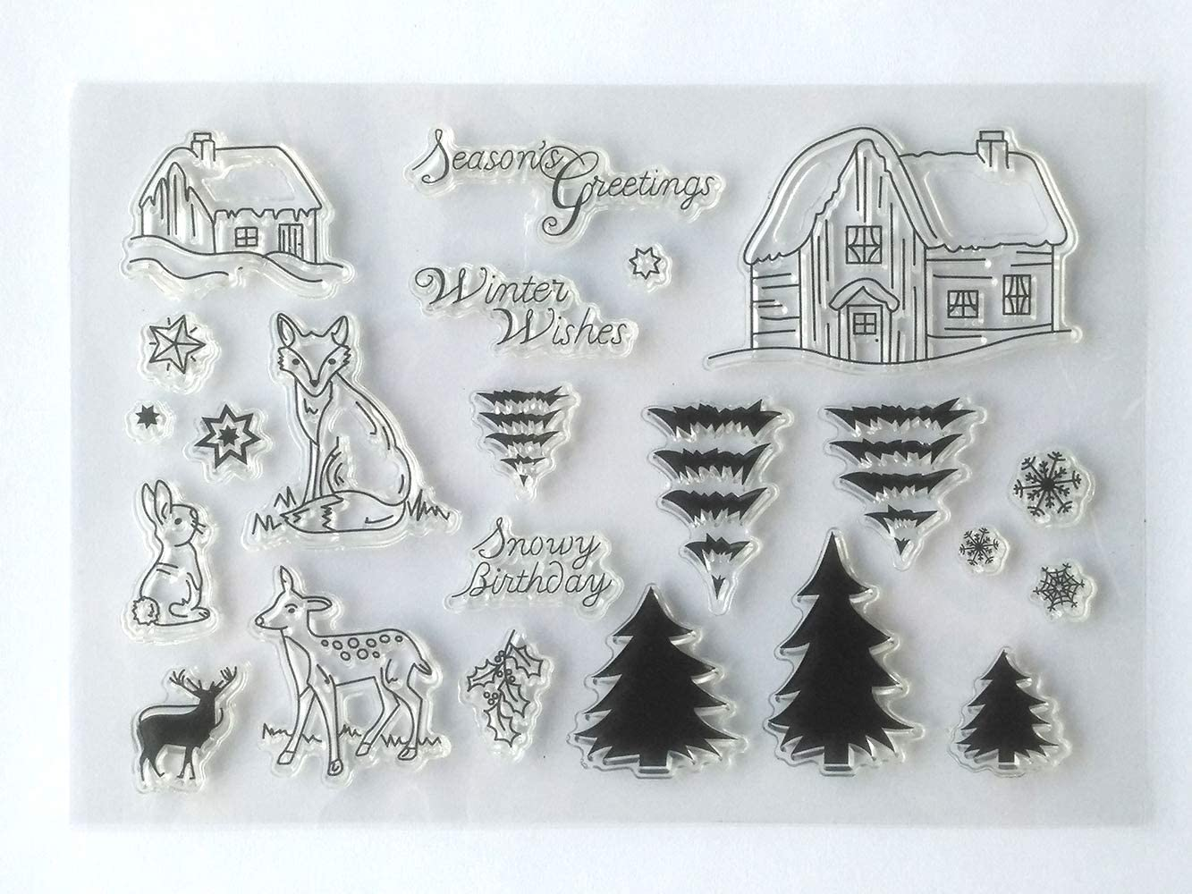 MaGuo Winter Wonderland Clear Stamps Season Greeting Animal Cabin Pine Tree Layer for Card Making Decoration and DIY Scrapbooking