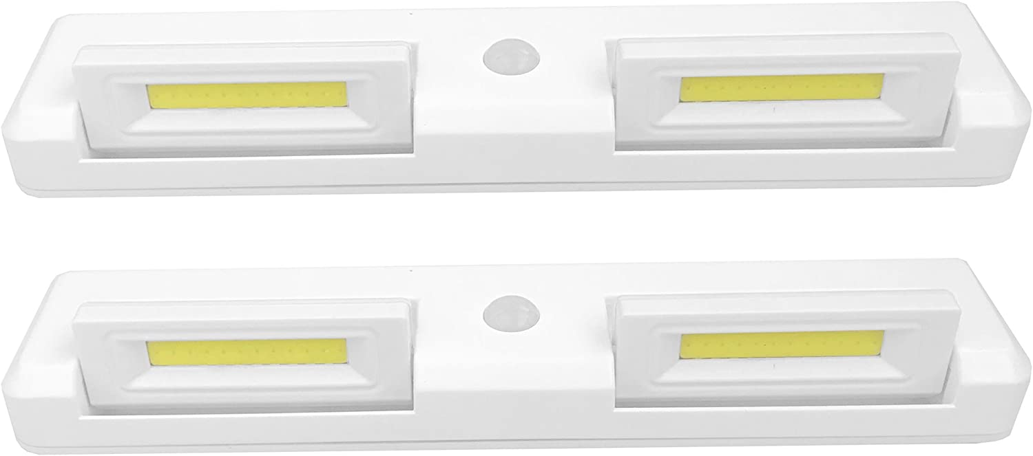 Seville Classics Adjustable Dual-Head Motion-Activated Stick-On LED Bar 7000K 200 Lumen 3W Battery-Operated Drawer Closet Wall Mount Under- Under-Cabinet Light Set of 2 , 8.7 L x 1.8 W, White