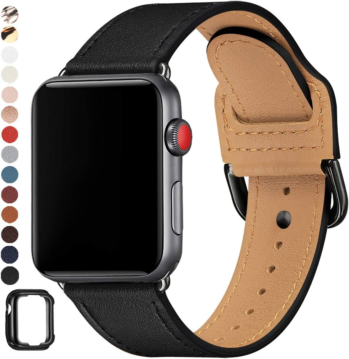 POWER PRIMACY Bands Compatible with Apple Watch Band 38mm 40mm 42mm 44mm, Top Grain Leather Smart Watch Strap Compatible for Men Women iWatch Series 6 5 4 3 2 1,SE (Black/Black, 42mm/44mm)