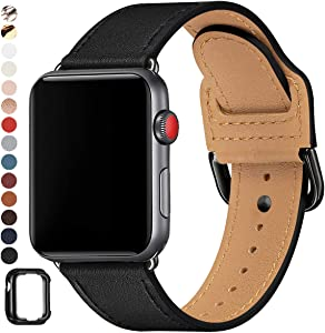 POWER PRIMACY Bands Compatible with Apple Watch Band 38mm 40mm 42mm 44mm, Top Grain Leather Smart Watch Strap Compatible for Men Women iWatch Series 6 5 4 3 2 1,SE (Black/Black, 38mm/40mm)