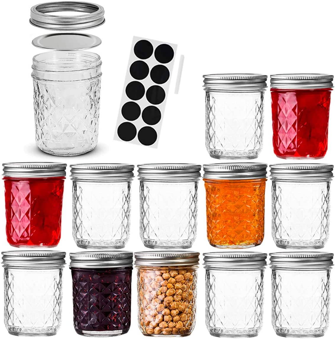 FRUITEAM 6 oz Mason Jars with Lids and Bands-Set of 12, Quilted Crystal Jars Ideal for Jams, Jellies, Conserves, Preserves, Fruit Syrups, Chutneys, and Pizza Sauce