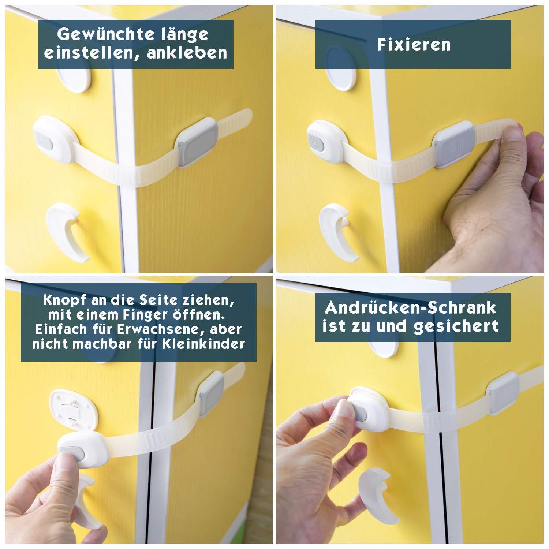 2 Jahre Garantie Kindersicherung f/ür Schrank und Schubladen Hoffenbach/® Germany 8x Schranksicherung zum kleben f/ür Baby und Kind Schubladensicherung Schrankschloss ohne bohren