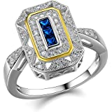 Newshe Vintage Princess Created Blue Sapphire 925 Sterling Silver Gemstone Ring Size J to T