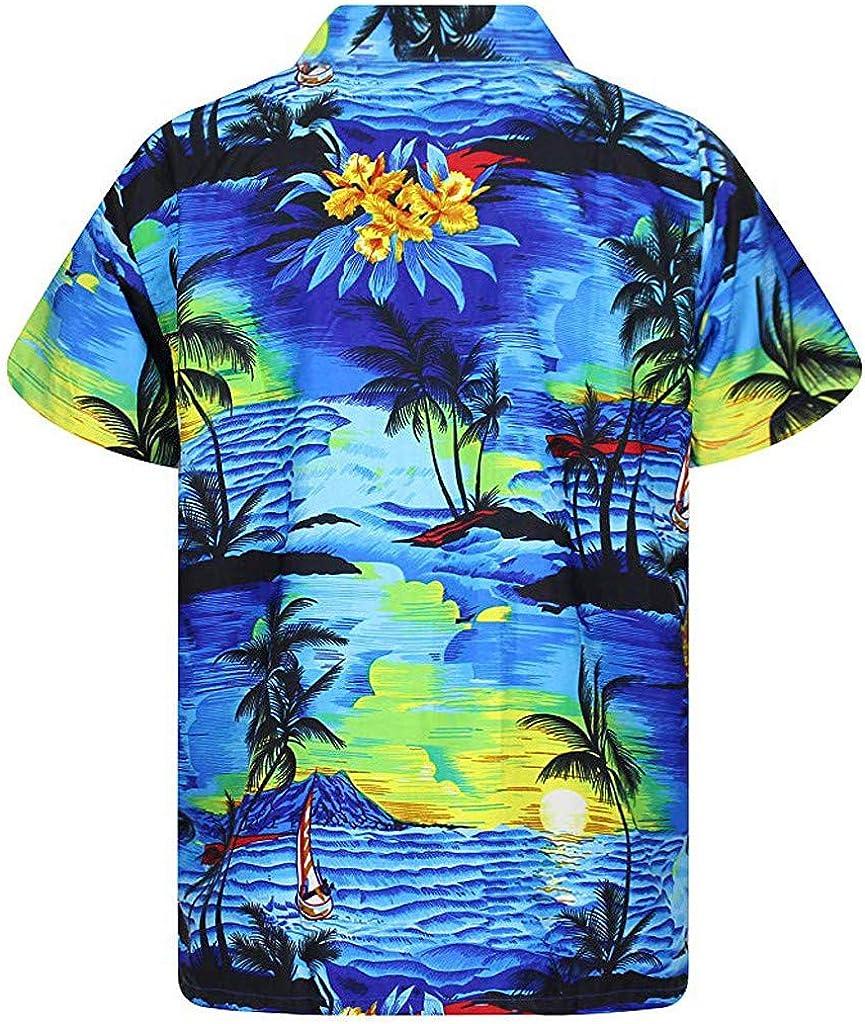 Shirts for Men Short Sleeve Polo Blouse Loose Hawaii Print Tops Tee Business Beach Henley Shirt