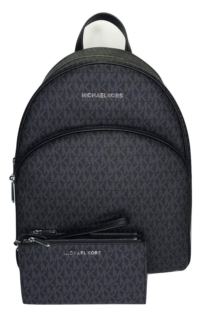 MICHAEL Michael Kors Abbey Large Backpack bundled with Michael Kors Jet Set Travel Double Zip Wallet Wristlet (Signature MK Black)