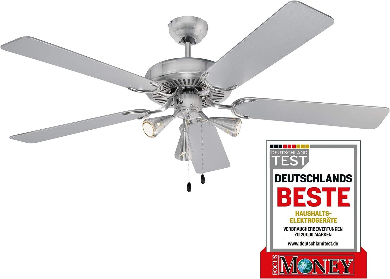 Ventilador de techo ProfiCare PC-DVL 3078, ancho de aspas aprox. 132 cm, diseño de acero inoxidable, incluye iluminación.