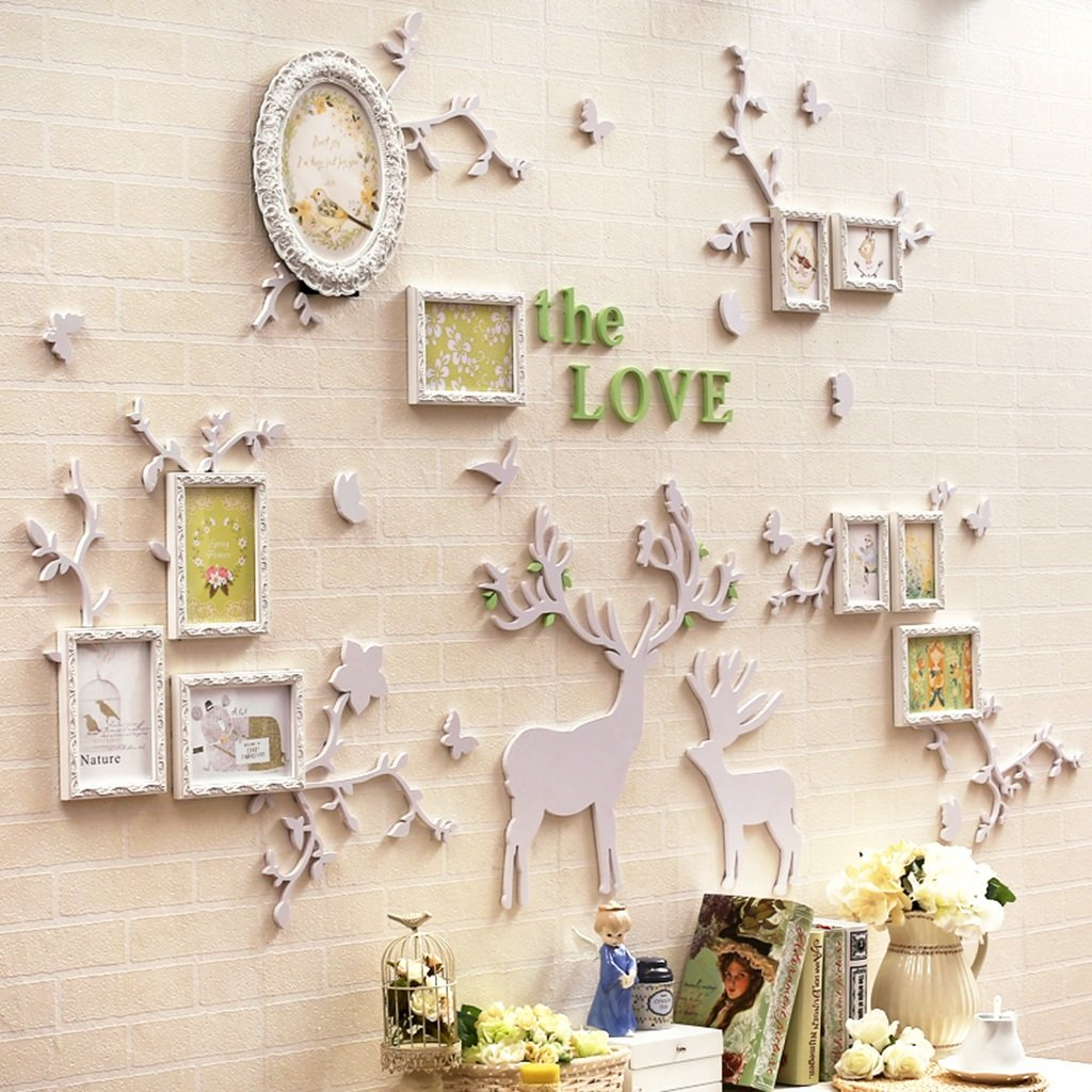 ALUS- 10 Multi Photo Frames Set European-style Carved Photo Frame Creative Wall Stickers Personality Bedroom Study Living Room Children's Room Background Wall Frame ( Color : White )