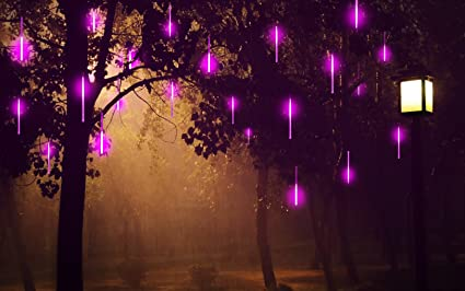 alkbo purple meteor shower rain lights waterproof string for wedding party christmas xmas decoration tree party