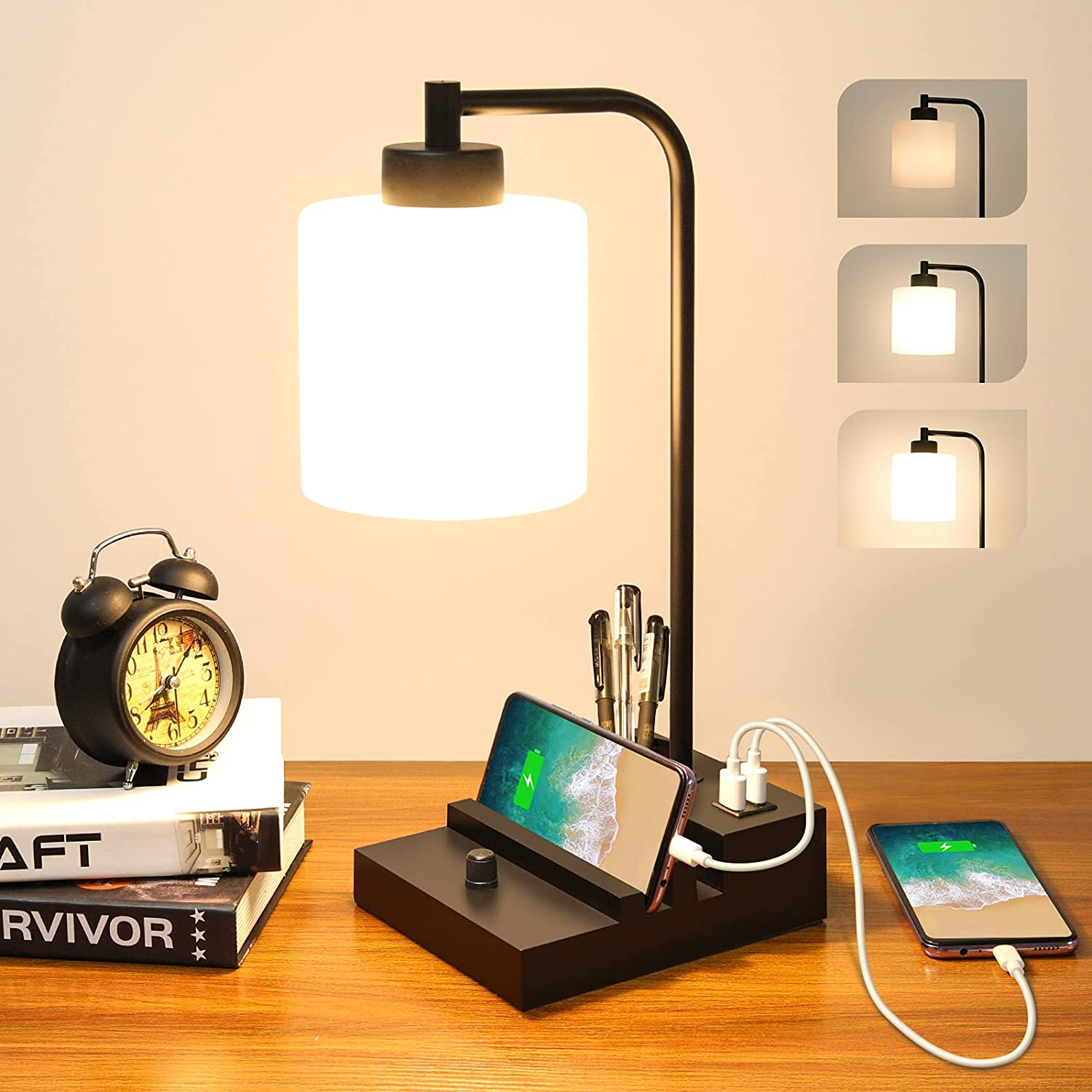 Dimmable Bedside Lamp, Table Lamp with Dual USB Ports & Dual Phone Stands, Industrial Desk Lamp Opal Glass Shade, Modern Nightstand Lamp for Bedroom Living Room Office, 6W 3000K LED Bulb Included