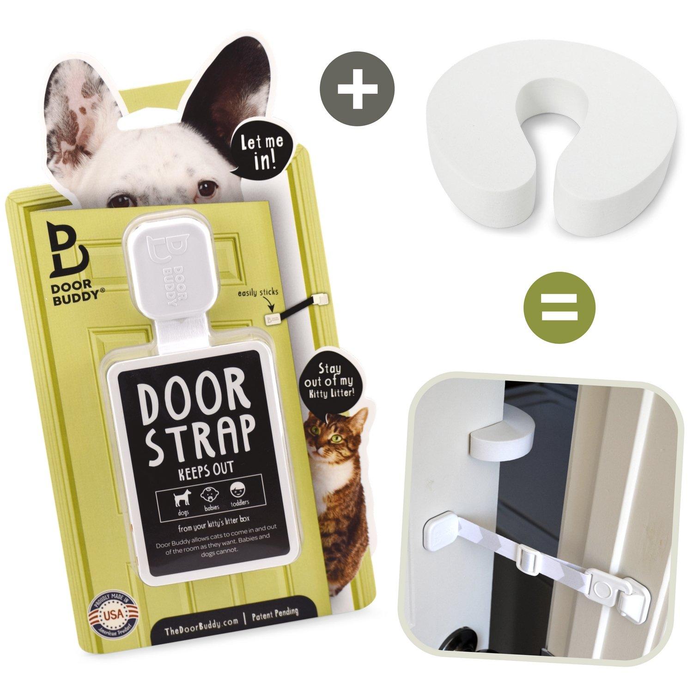 Gardez le chien hors de la liti/ère et emp/êchez la porte de se refermer Alternative Parfaite aux Chati/ères Loquet de Porte Door Budy Plus Bloque Porte Sinstalle en quelques secondes Entr/ée facile pour les chats et les adultes