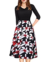 ECOLIVZIT Womens Vintage V-Neck Floral Dress with Sleeves Casual Swing Dress