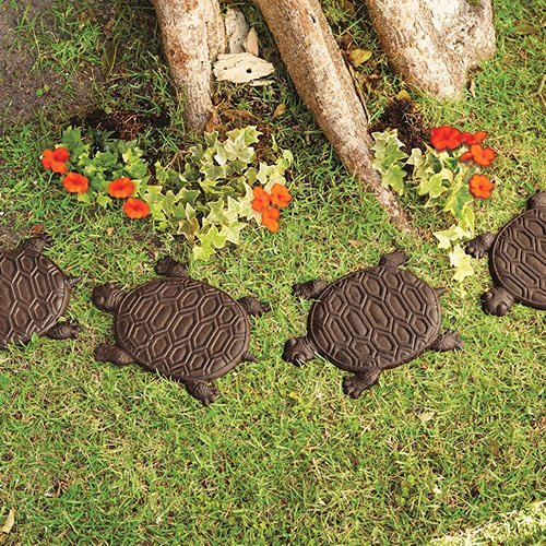Turtle Stepping Stones Set of 6 Cast Iron Rust Finish]()