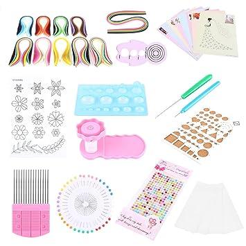 Varios colores papel Quilling Kit con 1200 tiras 9 herramientas para filigranas de papel para filigranas y 16 diferentes patrones de dibujo para ...