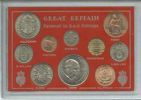 Farewell To The £sd System Pre-Decimal £ sd (10 coins) Crown Coin Present  Display Gift Set