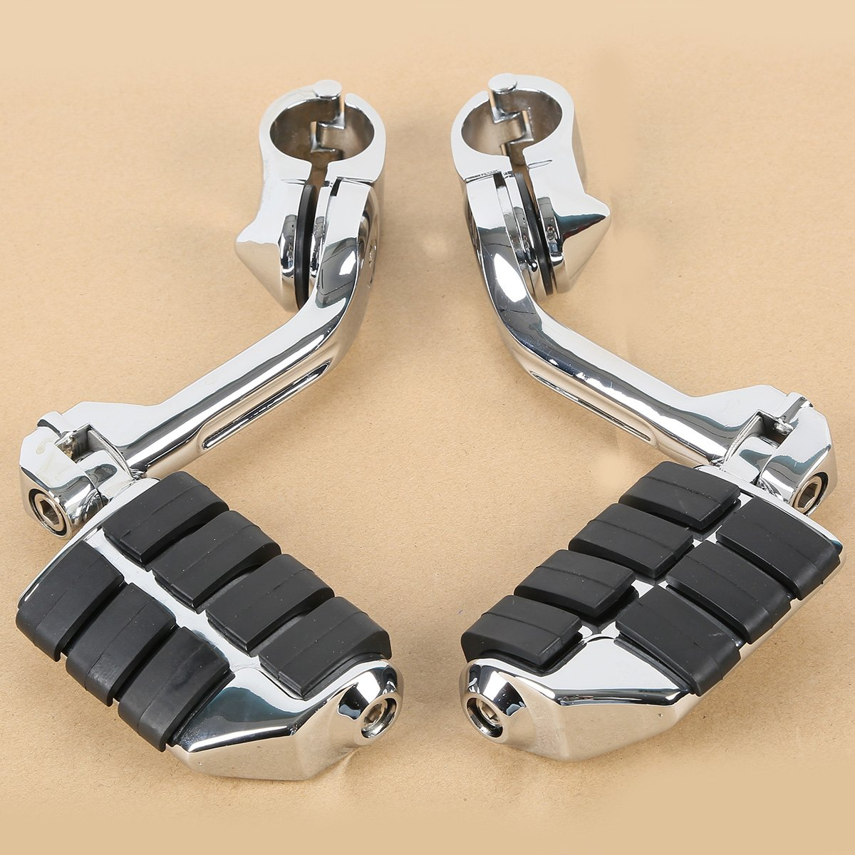 Tengchang Footrest Long Highway Motorcycles Foot Pegs Fit for Harley Electra Road King Street Glide 1-1//4 Bars