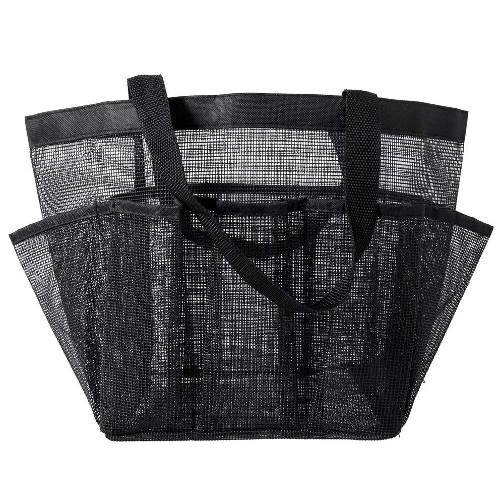 FZLQG Durable Portable Caddy Shower Tote Bag with Mesh Storage Pockets Quick Dry Gym Hanging Black