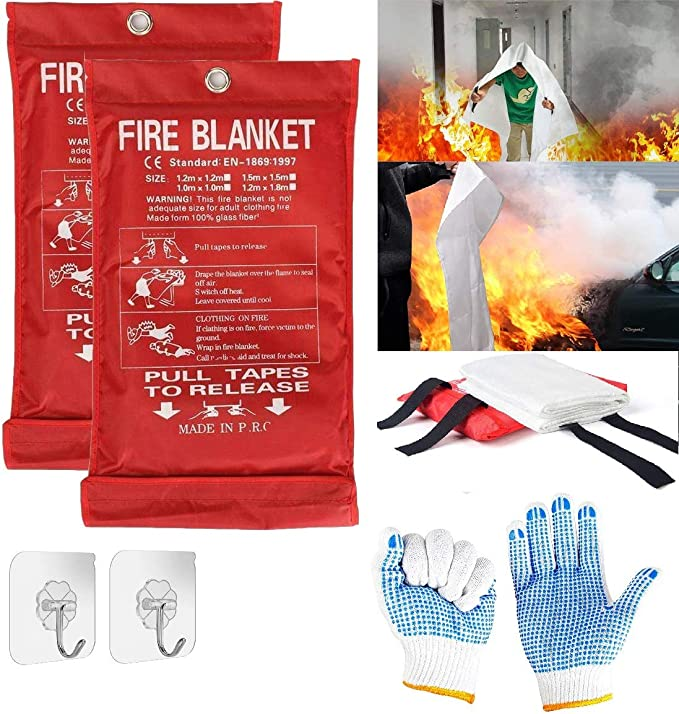 Suppression Flame Retardant Safety Blanket for Home SAINUOD Fire Blanket Emergency for Kitchen Warehouse 4 Pack School Office Grill Car Fireplace