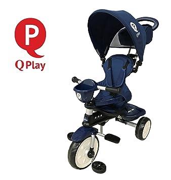 Triciclo Qplay Comfort 4 en1 con barra orientable y capota para el sol. Color: Azul: Amazon.es: Juguetes y juegos