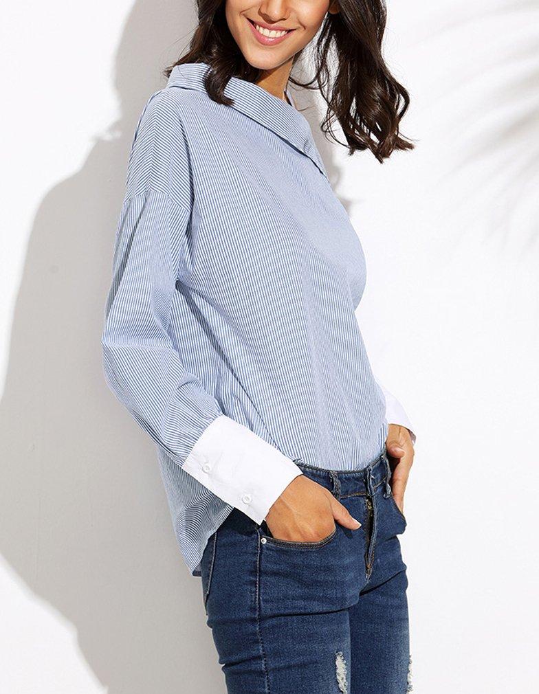 Blusas De Mujer Elegante Oblicuo-Hombro Manga Larga Rayas Tops Jovenes Niñas Ropa Bonita Fashionista Diario Casual Suaves Confort Fiesta Camisas: Amazon.es: ...