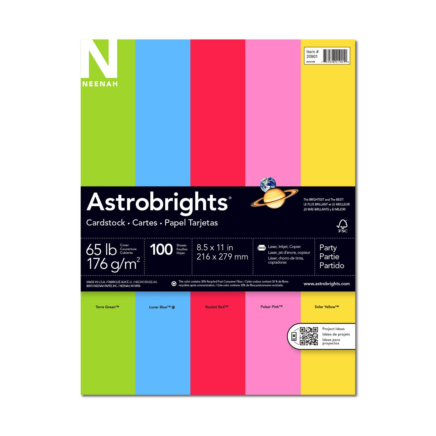 Multi colored cardstock paper - Amazon Com Astrobrights Colored Cardstock 8 5 X 11 65 Lb 176 Gsm Party 5 Color Assortment 100 Sheets Cardstock Papers Office Products