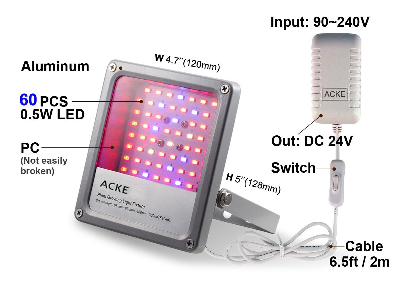 Amazon acke led grow lights fixtures plant lights 24w for amazon acke led grow lights fixtures plant lights 24w for plants seedlings hydroponics green house aeroponics herbs veg flower smd with switch arubaitofo Gallery