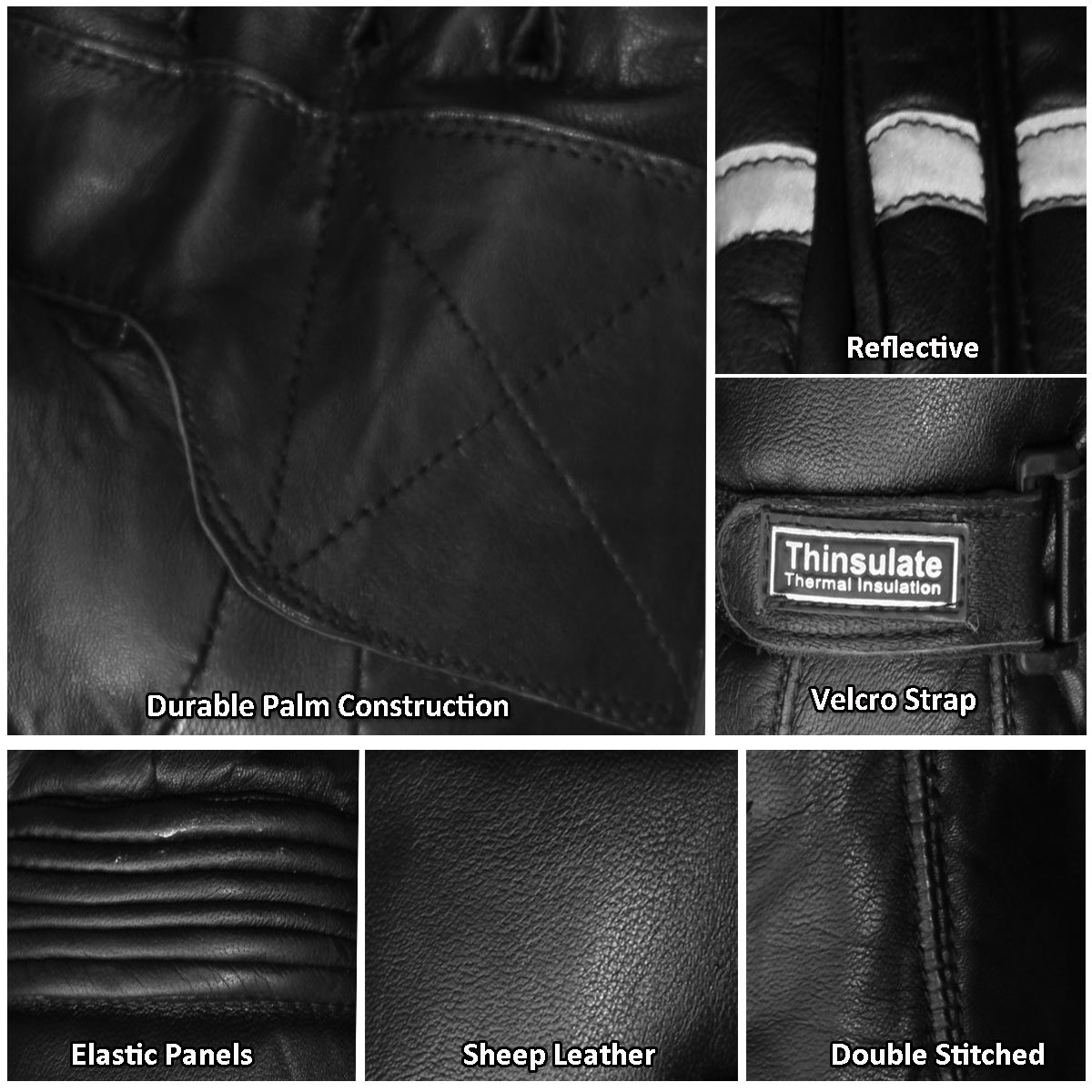 New Reflective Motorcycle Biker Riding Winter Sheep Leather Gloves Black S Jackets 4 Bikes