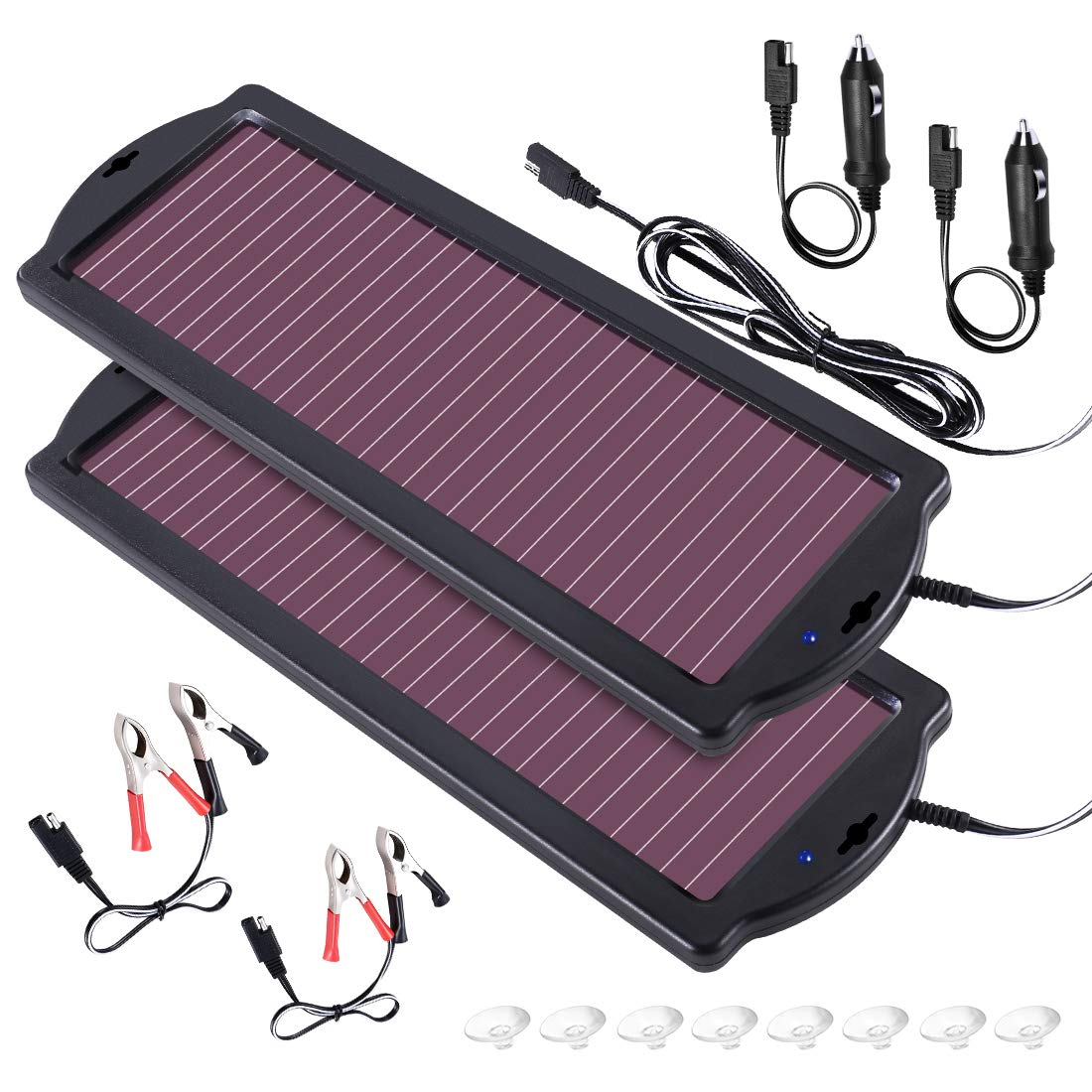 POWOXI Solar Car Battery Trickle Charger, 12V 1.8W Solar Battery Charger Car, Waterproof Portable Amorphous Solar Panel for Rv Motorcycle Watercraft by POWOXI (Image #1)