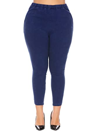 65dcec5a02e Image Unavailable. Image not available for. Color  IN VOLAND Womens Plus  Size Stretch Slim Pencil Pants Ladies Elastic Waist Work Trousers Long