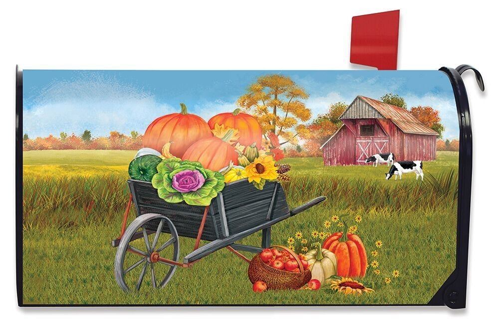 Briarwood Lane Farm Fresh Fall Magnetic Mailbox Cover Pumpkins Autumn Wheelbarrow Standard