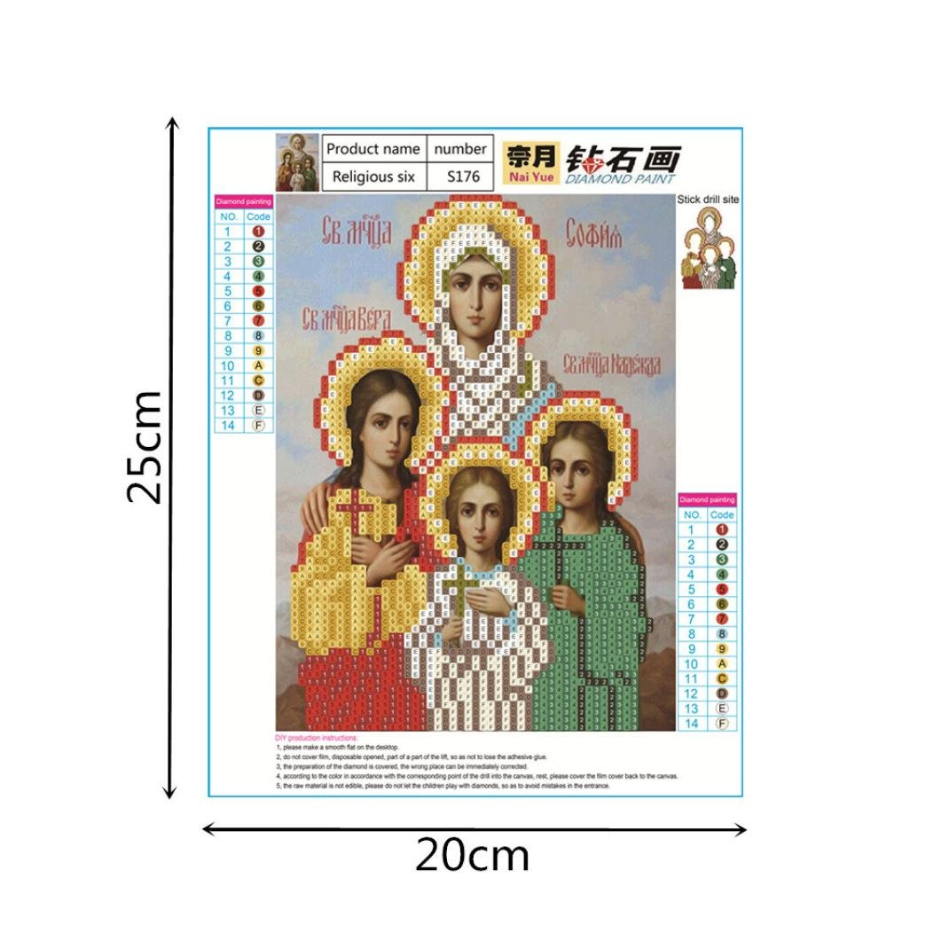 Shybuy 5D DIY Diamond Painting, Full Drill Christianity Religion Embroidery Rhinestone Cross Stitch Painting by Number Kits (F, 20cm25cm)