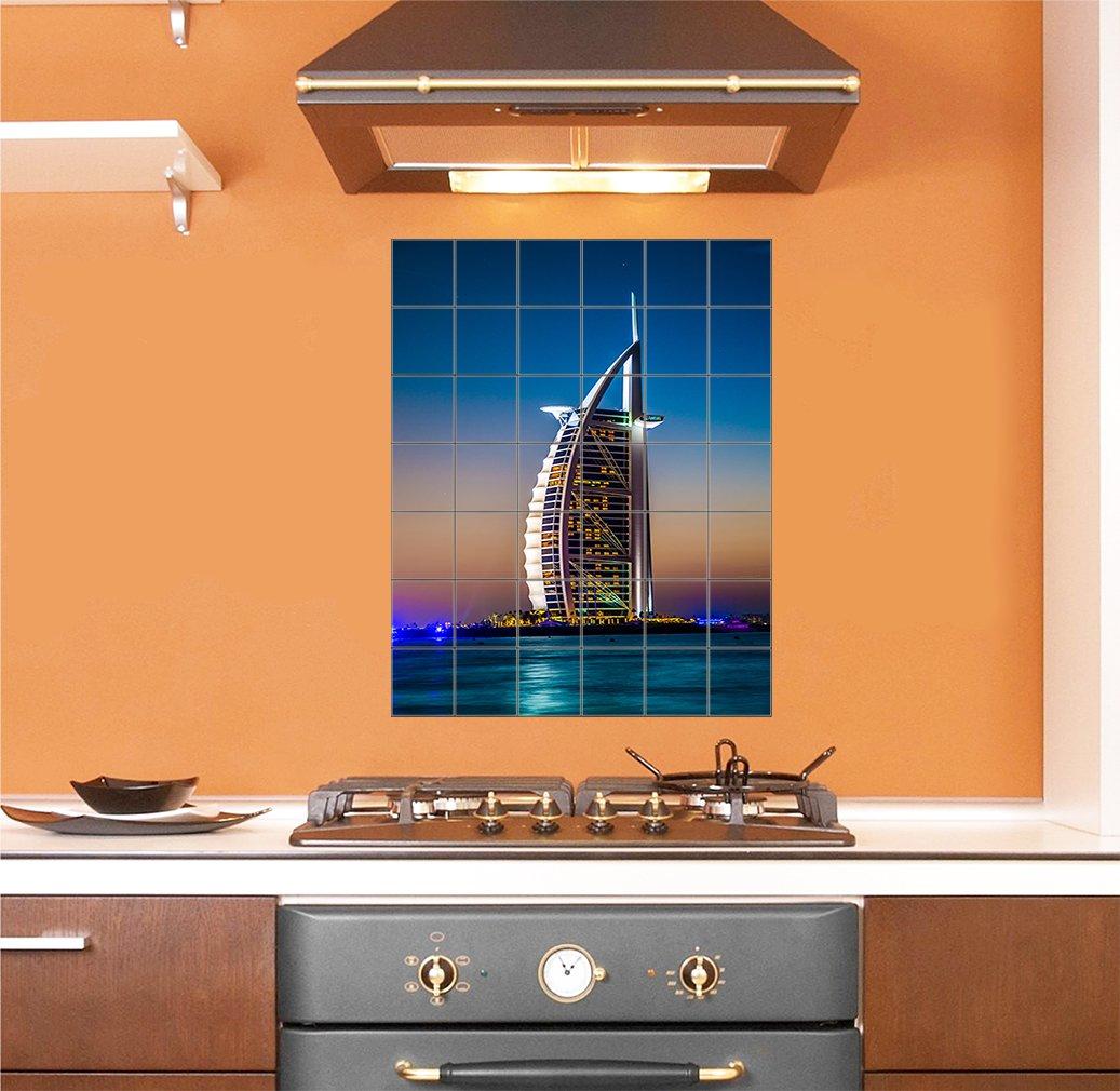 Burj Al Arab Is Luxury Stars Hotel Vertical Tile Mural Satin Finish 42''Hx36''W 6 Inch Tile by Style in Print (Image #2)
