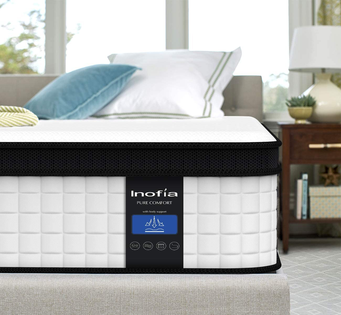 Twin Mattress, Inofia 10 Inch Memory Foam Hybrid Mattress in a Box, Breathable Comfortable Cool Single Mattress,Supportive & Pressure Relief, Motion Isolating Individually Wrapped Coils, Twin Size