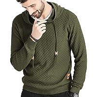 Zaitun Mens Hooded Sweatshirt Long Sleeve Solid Knitted Hoodie Pullover Sweater