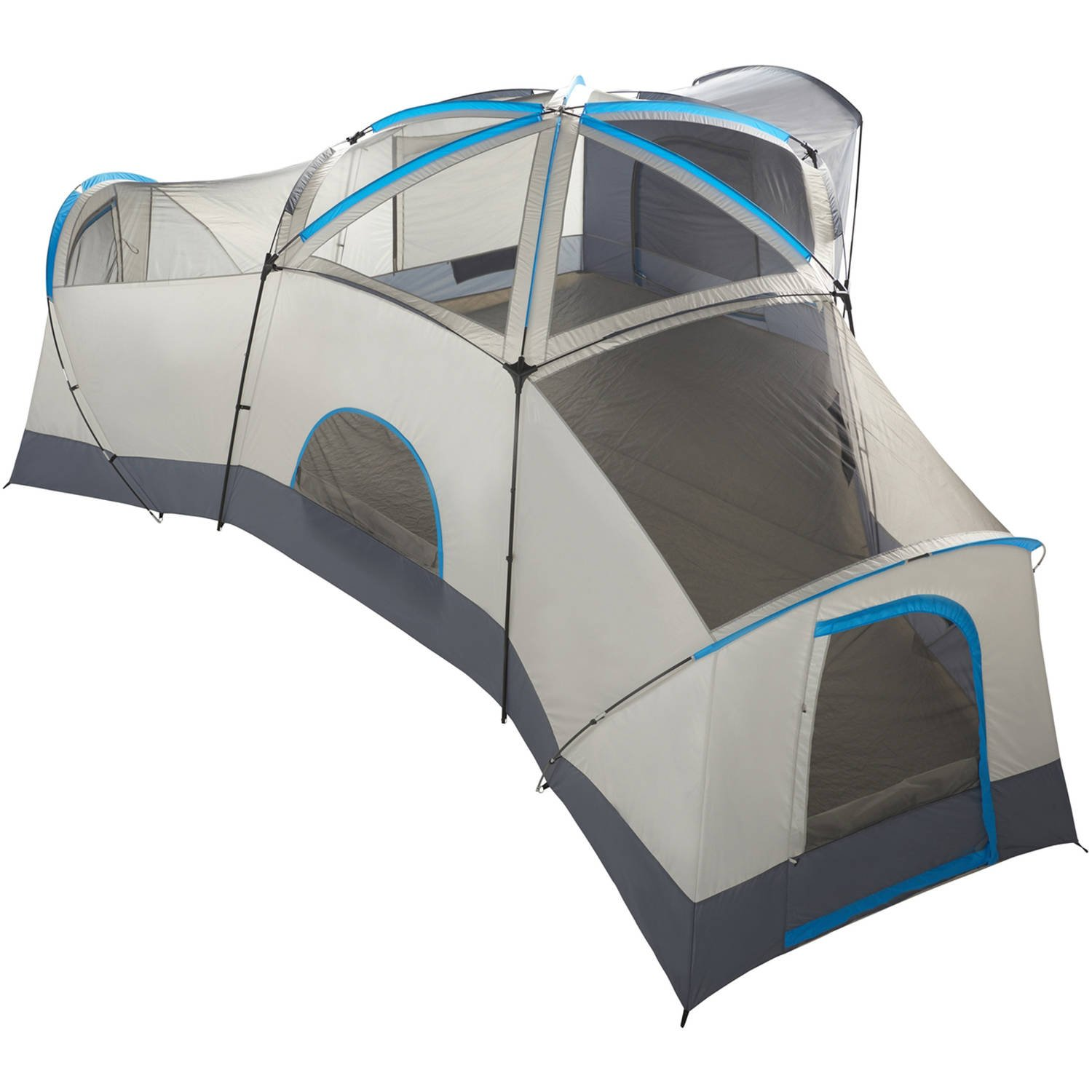 Spacious Family Sized 16-Person Weather Resistant Ozark Trail 23.5 x 18.5 Cabin Camping Tent, Gray and Blue