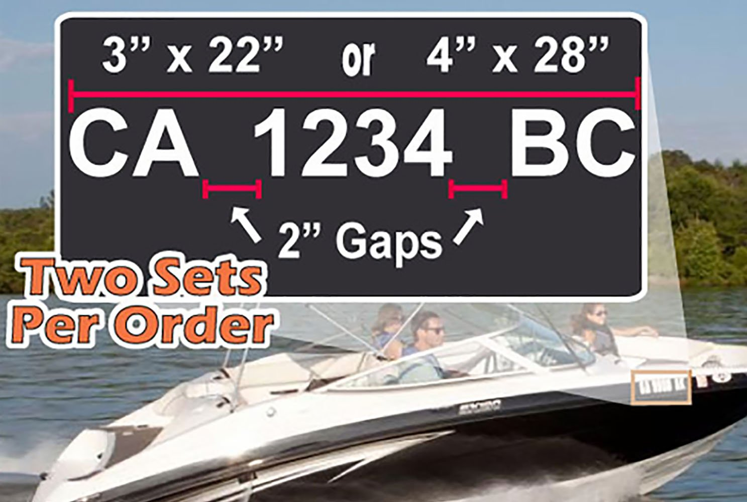 Amazon com custom boat registration numbers car wall vinyl decals stickers 3 x 22 inches home kitchen