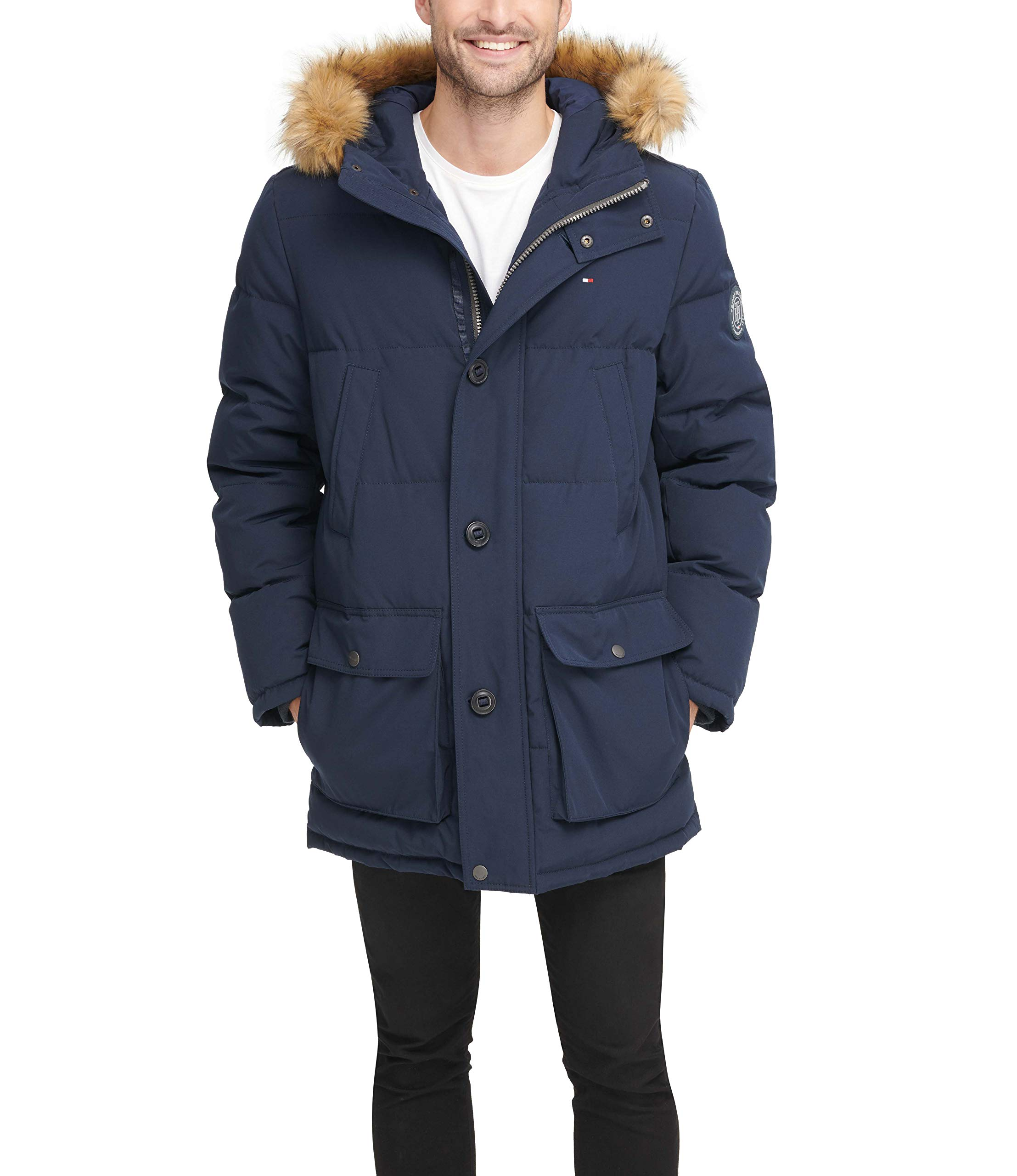 Tommy Hilfiger Men's Arctic Cloth Full Length Quilted Snorkel with Removable Faux Fur Trimmed Hood and Ultra Loft Isulation, Navy, XL by Tommy Hilfiger